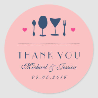 Pink Wedding Thank You Sticker Fork and Spoon