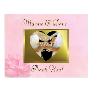 Pink Wedding Thank Your Card   Flower Collection Postcards