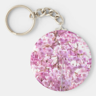 Pink Weeping Willow Flowering Tree Basic Round Button Keychain