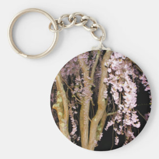 Pink Weeping Willow In The Night On A Spring Night Keychains
