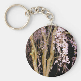 Pink Weeping Willow In The Night On A Spring Night Keychain
