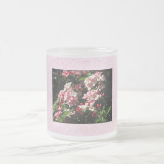 Pink Weigela Flowers. On pink. Frosted Glass Coffee Mug