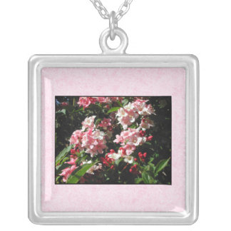 Pink Weigela Flowers. On pink. Square Pendant Necklace