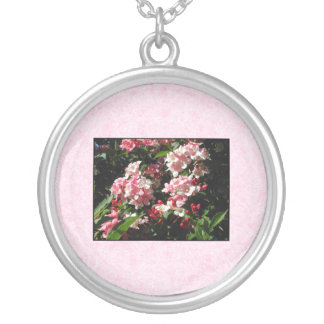 Pink Weigela Flowers. On pink. Round Pendant Necklace