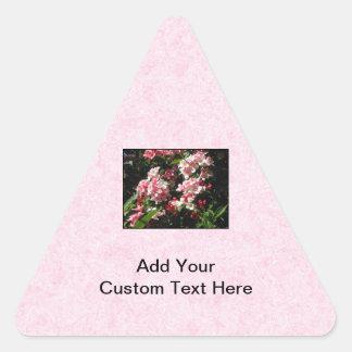 Pink Weigela Flowers. On pink. Triangle Sticker