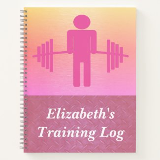 Pink Weightlifting Barbell Workout Gym Log Notebook