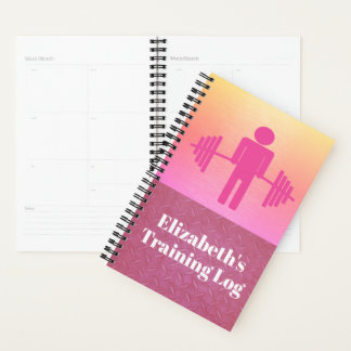 Pink Weightlifting Fitness Gym Workout Log Planner