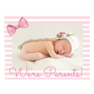 Pink We're Parents Baby Birth Announcement Postcard