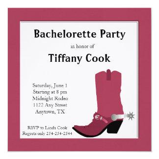 Pink Western Bachelorette Party Invitation