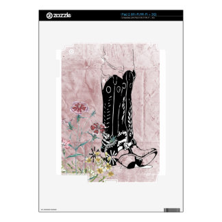 Pink Western Cowgirl Boots Flowers Skin For The iPad 2