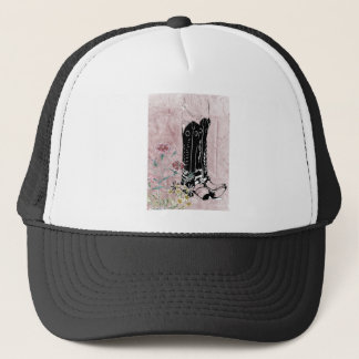 Pink Western Cowgirl Boots Flowers Trucker Hat
