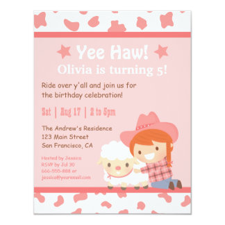 Pink Western Cowgirl Farm Kids Birthday Party 4.25x5.5 Paper Invitation Card