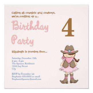 Pink Western Girls Birthday Party Invitation