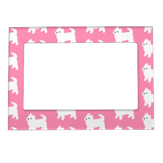 Pink Westie Pattern - West Highland Terrier Dogs Magnetic Photo Frame