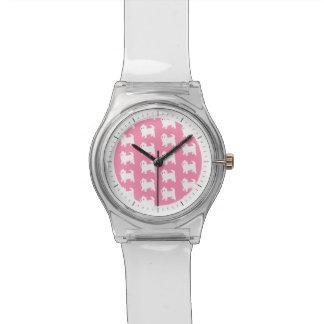 Pink Westie Pattern - West Highland Terrier Dogs Wrist Watch