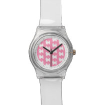 Pink Westie Pattern - West Highland Terrier Dogs Wrist Watch