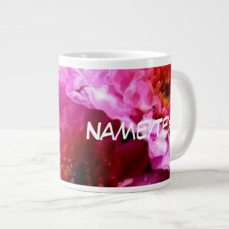 pink wet flowers 20 oz large ceramic coffee mug