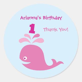 Pink Whale 1st Birthday Favor Sticker