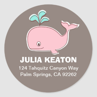 Pink Whale Address Labels Round Stickers