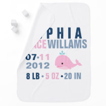 Pink Whale Baby Birth Announcement Stroller Blanket