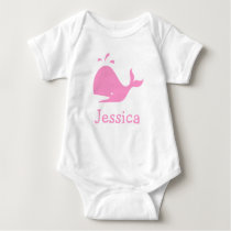 Pink whale baby clothes | Personalizable Baby Bodysuit