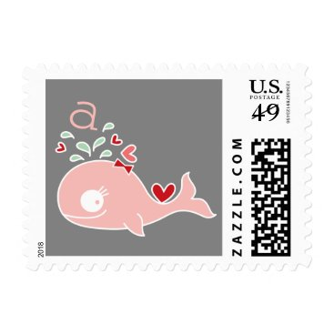 Beach Themed Pink Whale Baby Girl Birth Announcement Postage