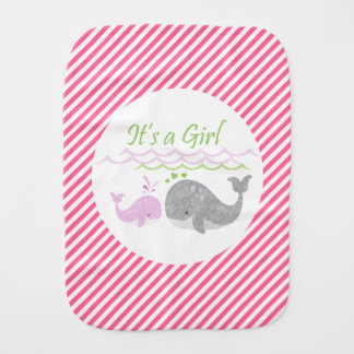 Pink Whale Baby Girl Burp Cloth