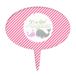Pink Whale Baby Shower Cake Topper