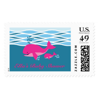 Pink Whale Baby Shower Stamp