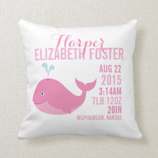 Pink Whale Birth Announcement Nursery Pillow