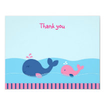 Pink Whale Flat Thank You Note Cards