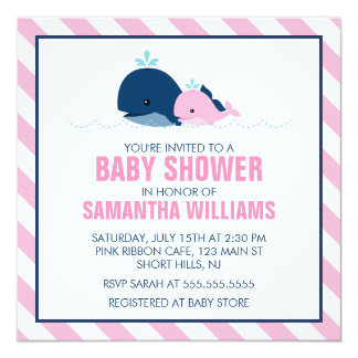 Pink Whale Girl Baby Shower Card