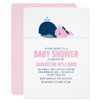 Pink Whale Girl Baby Shower Invitation
