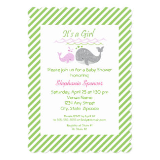 Pink Whale Green Striped Baby Shower Invitation