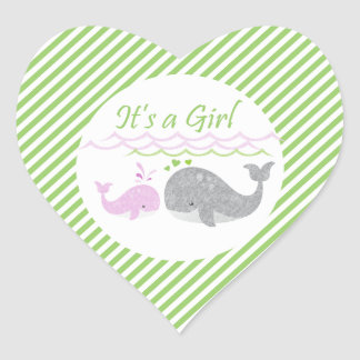 Pink Whale Green Striped Baby Shower Stickers