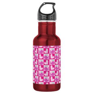 Pink Whale Heart Pattern 18oz Water Bottle