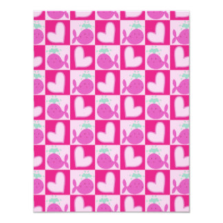 Pink Whale Heart Pattern 4.25x5.5 Paper Invitation Card