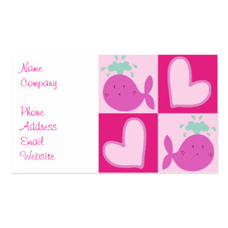 Pink Whale Heart Pattern Double-Sided Standard Business Cards (Pack Of 100)