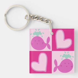 Pink Whale Heart Pattern Keychain