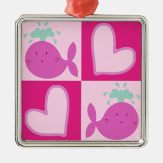 Pink Whale Heart Pattern Metal Ornament
