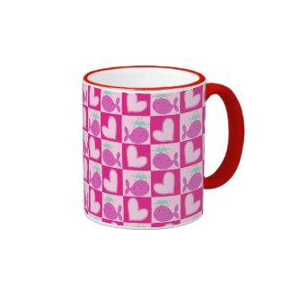 Pink Whale Heart Pattern Coffee Mug
