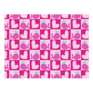 Pink Whale Heart Pattern Postcard