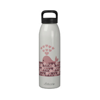 Pink Whale Love Water Bottles