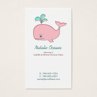 Pink Whale Mommy Calling Cards