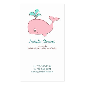 Pink Whale Mommy Calling Cards Double-Sided Standard Business Cards (Pack Of 100)