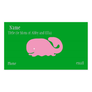 Pink Whale Mommy Card Double-Sided Standard Business Cards (Pack Of 100)