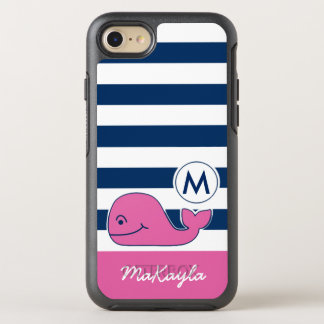 Pink Whale & Navy Stripes OtterBox Symmetry iPhone 8/7 Case