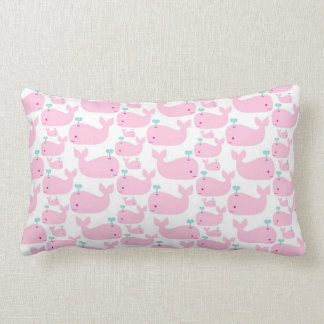 Pink Whale Nursery Print Throw Pillow