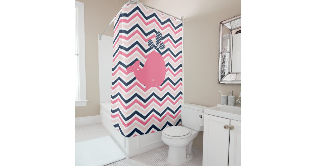 Pink Whale On Pink White Navy Chevron Stripes Shower Curtain Zazzle