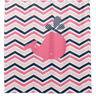 Pink Whale on Pink, White, Navy Chevron Stripes Shower Curtain